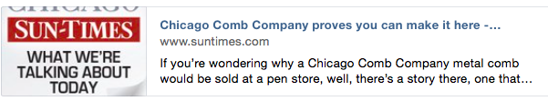 SunTimes о Chicago Comb Co.